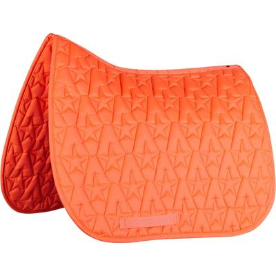 Tapis de selle équitation poney et cheval 100 STAR orange fluo