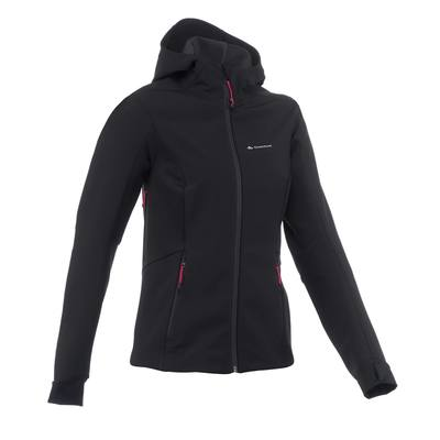 Veste trekking Windwarm 500 softshell femme noir