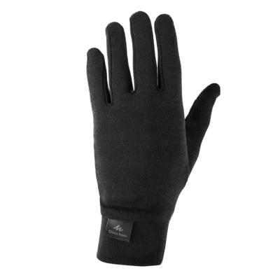 Sous-gants trekking montagne Trek 550 soie noir