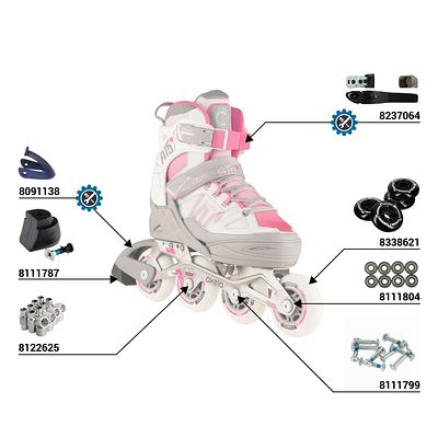 Roller fitness enfant FIT 5 JUNIOR rose blanc