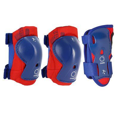 Set 3 protections roller skate trottinette enfant PLAY bleu et rouge