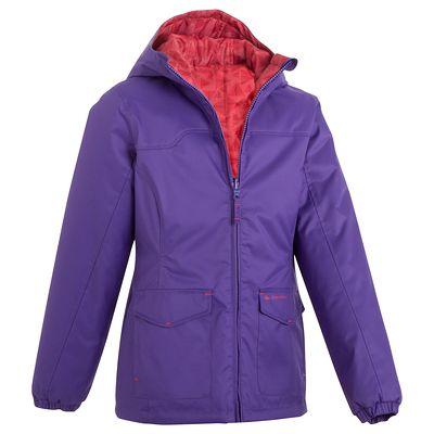 Veste chaude imperméable randonnée fille Hike 100 violet  12 ANS