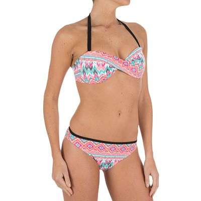 Haut de maillot de bain femme bandeau twisté LINA Maya corail avec coques fixes