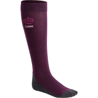 Chaussettes équitation femme GRIPPY prune patch silicone rose X1