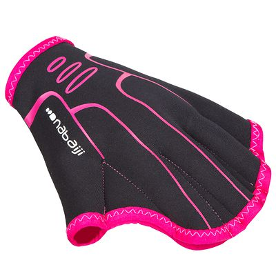 GANTS D'AQUAFITNESS GLOVES NOIR ROSE