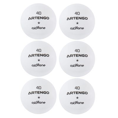 LOT DE 6 BALLES DE TENNIS DE TABLE FB 800 BLANCHES ARTENGO