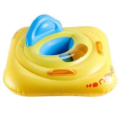 Bouée siège bébé jaune pour piscine avec hublot avec poignées